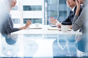 Business people to brainstorm a great opinion